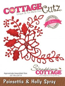 Wykrojnik Poinsettia & Holly Spray - Cottage Cutz CCE-188