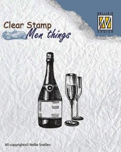 Szampan/Wino - Men things - stempel akrylowy Nellie CSMT003