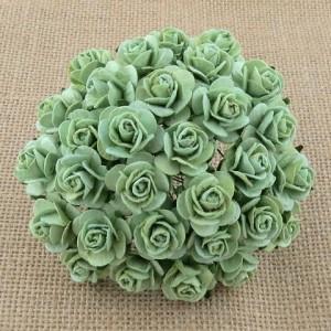 Miętowe zielone róże - WOC 15mm, 10szt