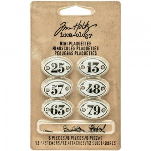 White W/Black Numbers Mini - etykietki metalowe Tim Holtz TH93296