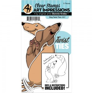 Dog Twist Ties - stemple akrylowe + wykrojniki Art Impressions 4987